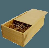 2er Wein-Holzkiste mit Schiebedeckel und Holzwollefüllung
