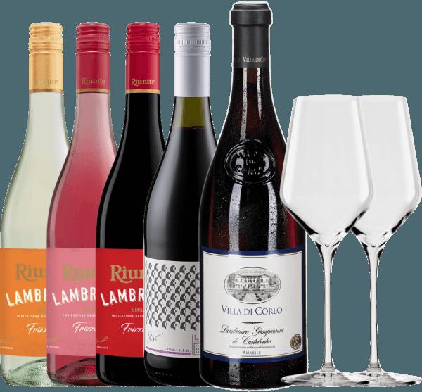 5er Lambrusco-Vorteils-Paket + 2x Stölzle Quatrophil Weißwein-Gläser