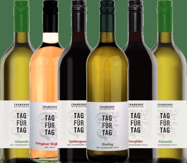 6er Kennenlernpaket - Tag für Tag Weine halbtrocken - Frankhof Weinkontor