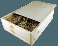 3er Wein-Holzkiste mit Schiebedeckel und Holzwollefüllung