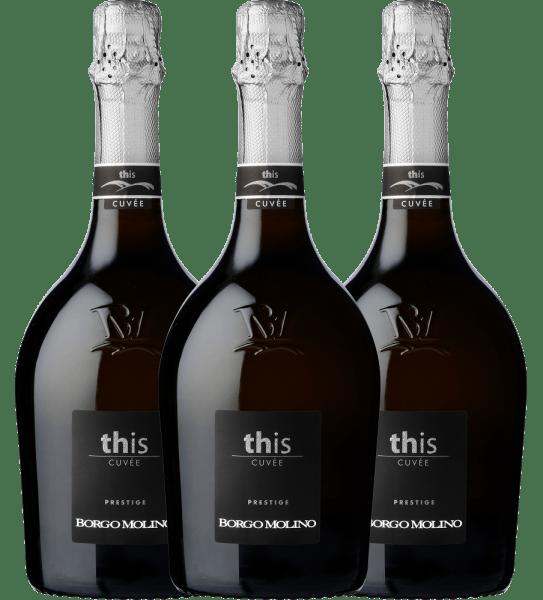 Der leichtfüßige 3er Paket aus dem Hause Borgo Molino schimmert mit brillantem Platingelb ins Glas. Das Perlenspiel dieses Schaumweins zeigt sich im Glas ungemein fein, elegant und lang anhaltend. Die Farbe dieses Weißweins zeigt im Zentrum zudem Reflexe. Gibt man ihm im Glas durch Schwenken etwas Luft, so zeichnet sich dieser Schaumwein durch eine faszinierende Leichtigkeit aus, die ihn behende im Glas tanzen lässt. Dieser Wein begeistert durch sein elegant trockenes Geschmacksbild. Er wurde mit außergewöhnlich wenig Restzucker auf die Flasche gebracht. Hier handelt es sich um einen echten Qualitätswein, der sich klar von einfacheren Qualitäten abhebt und so verzückt dieser Italiener natürlich bei aller Trockenheit mit feinster Balance. Exzellenter Geschmack benötigt eben nicht zwangsläufig Restzucker. Das Finale dieses reifungsfähigen Schaumweins aus der Weinbauregion Venetien überzeugt schließlich mit beachtlichem Nachhall. Der Abgang wird zudem von mineralischen Facetten der von Kies und Sand dominierten Böden begleitet. Vinifikation des 3er Paket von Borgo Molino Grundlage für den eleganten 3er Paket aus Venetien sind Trauben aus den Rebsorten Glera und Riesling. Die Trauben wachsen unter optimalen Bedingungen in Venetien. Die Reben graben hier ihre Wurzeln tief in Böden aus Sand, Kies und Mergel. Der 3er Paket ist ein Alte Welt-Wein im besten Sinne des Wortes, denn dieser Italiener versprüht einen außergewöhnlichen europäischen Charme, der ganz klar den Erfolg von Weinen aus der Alten Welt unterstreicht. Im Anschluss an die Handlese werden die Trauben auf schnellstem Wege ins Presshaus gebracht. Hier werden sie sortiert und behutsam aufgebrochen. Es folgt die Gärung der Grundweine. Speiseempfehlung zum Borgo Molino 3er Paket Erleben Sie diesen Schaumwein aus Italien idealerweise gut gekühlt bei 8 - 10°C als begleitenden Wein zu Gemüsesalat mit roter Beete, fruchtiger Endiviensalat oder Omelett mit Lachs und Fenchel.