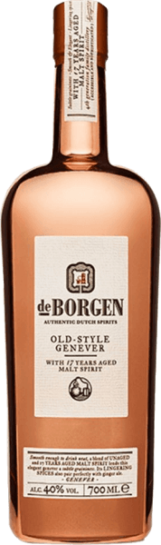 Der Old Style Genever von De Borgen Distillery schimmert golden im Glas ud entfaltet ein komplexes Bouquet mit den Röstaromen, Anis und Gewürzen. Dieser Genever ist am Gaumen weich und ist mit den intensiven Noten von Getreide, Wacholderbeeren, Gewürzen und weichen Holznoten präsent. Im Abgang ist dieser Holland Gin elegant und intensiv. Der Old Style Genever von De Borgen wird in der Kuperbrennblase dreifach destilliert und mit gereiftem Malz-Spirit vervollständigt. Die Optik der Flasche erinnert an die Kupferbrennblase. Servierempfehlung für den Old Style Genever von De Borgen Distillery Genießen Sie diesen Genever pur bei einer Trinktemperatur von 20°Celsius oder in einem Martini.